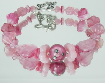 Rose Pink Mixed Flower Bead Bracelet with Czech Handmade Glass and Flower Toggle Clasp