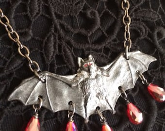Black Bat Necklace with Red Crystals, Bat Necklace, Bat Jewelry, Gothic Jewelry, Vampire Jewelry, FREE Earrings