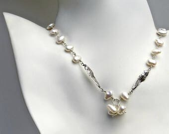 Poplar Seed Pearl Necklace, Keishi Pearl Necklace, Pearl Beaded Necklace in Sterling