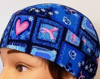 Handmade Chemo Cap, Skull Cap, Message of Hope, Hearts, Roses, Pink Ribbons, Women, Head Wrap, Bald, Hair Loss, Alopecia, Do Rag, Motorcycle