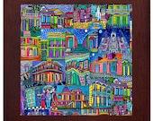 New Orleans NOLA French Quarter Horse Carriage City Folk Art Ceramic Framed Tile by Heather Galler - Ready To Hang Tile Frame Gift