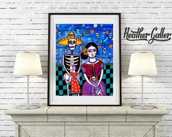 DIGITAL Print File - Mexican Folk art Art Print Poster by Heather Galler Frida Kahlo, Day of the Dead Print