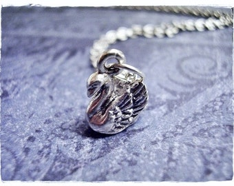 Tiny Silver Swan Necklace - Silver Pewter Swan Charm on a Delicate Silver Plated Cable Chain or Charm Only