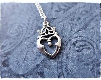 Silver Celtic Heart Necklace - Sterling Silver Celtic Heart Charm on a Delicate Sterling Silver Cable Chain or Charm Only