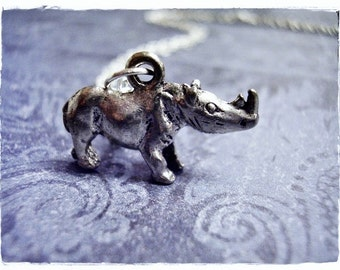 Silver Rhino Necklace - Antique Pewter Rhino Charm on a Delicate Silver Plated Cable Chain or Charm Only
