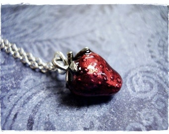 Red Strawberry Necklace - Red Enameled Antique Pewter Strawberry Charm on a Delicate Silver Plated Cable Chain or Charm Only