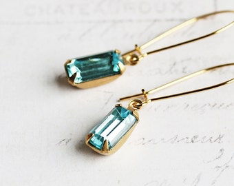 Tiny Aqua Blue Rhinestone Earrings on Gold Plated Hooks (Vintage Glass)