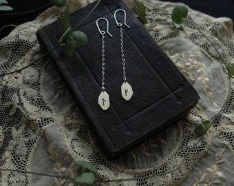 Runic dangle earrings. Custom (sterling silver - your choice of rune: Algiz, Othala, Ansuz, Fehu, Dagaz, Jera, Thurisaz, Tiwaz, Wunjo, etc.)