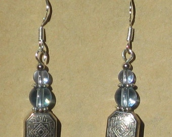 Earrings with Metal Bead and Blue Glass Beads