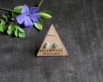 Turquoise Apatite Tiny Gemstone Stud Earrings // Small Raw Crystal Earrings on Stainless Steel Posts