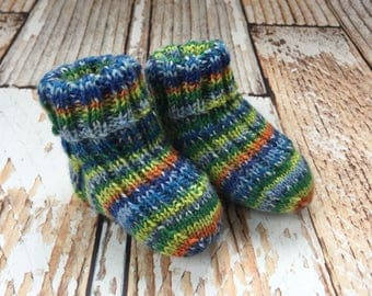 Knit Baby Booties - Gender Neutral Baby  Socks - Hand Knit Baby Socks - Knitted Baby Booties - Knit Socks for Babies - Stay On Socks Booties
