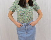 Vintage Tea Green Floral Top, Size Small, Grunge, 90's Clothing, Mori Girl, Hipster, Tumblr Clothing, My So Called Life, Kawaii