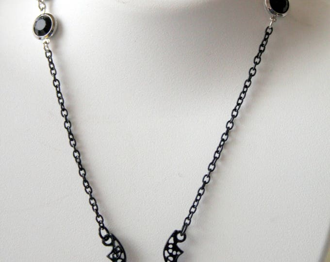 Black Enamel Bat With Crystals and Black Chaton Chain