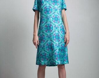 silk shift dress beaded collar 60s vintage turquoise blue floral short sleeve MEDIUM M