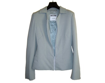 ON SALE Vintage Womens MOSCHINO Couture Grey Blue Zippered Jacket Size 6-8 Made In Italy 42