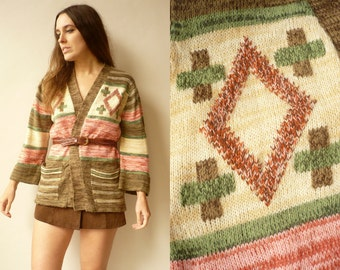 Vintage 1970's Aztec Southwestern Style Knitted Hippie Cardigan With Bell Sleeves