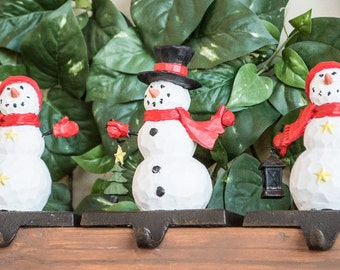 Christmas Snowmen Stocking Hangers Set of Three Colorfully Hand Painted