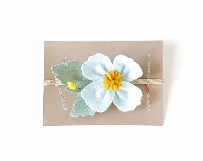 Featured listing image: Felt Flower Headband, Dogwood Flower, Children Photo Prop, Custom Colors, giddyupandgrow