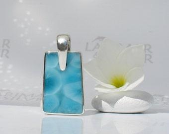 Larimar pendant by Larimarandsilver, Man of Neptune - sea blue Larimar tag, turtleback, deep blue stone, dog tag, handmade Larimar pendant