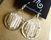 "Clear Crystal Quartz ""Ice Storm"" Petite Encapsulated Teardrop Hammered Sterling Silver Petite Earrings by LM-inspired"