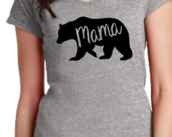 Mama Bear, V-Neck Shirt, Momma Bear, Mom Shirt, Moma Bear Shirt, v-neck Mama Bear