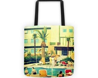 Hotel Flamingo Beach Bag Tote, Beach Vacation Bag, Summer Outdoors Tote Bag, Swimming pool art, 15x15, Summer Outdoors Beach Bag