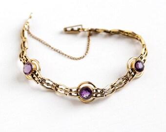 Sale - Vintage 12k Rosy Yellow Gold Filled Genuine Amethyst Bracelet - 1940s Purple Three Gem Target Design February Birthstone Jewelry