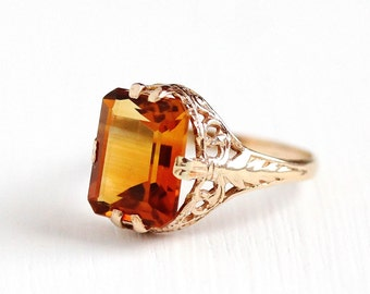 Vintage 10k Rosy Yellow Gold Art Deco Citrine Filigree Ring - 1920s Size 5 Orange Gemstone November Birthstone Leaf Motif Fine Jewelry
