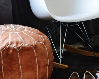 PREXMAS SALE 30% OFF>>  Tan Moroccan Leather Pouf, Pouffe, Foot Stool, Brown