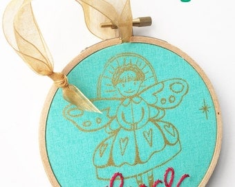 Peace Angel Ornament. Christmas Decor. Teal and Red Modern Christmas Tree Ornament. Hand Embroidery Hoop. Embroidered Hoop Ornament