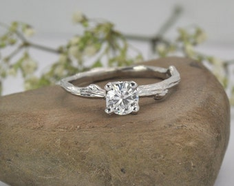 Forever one moissanite twig engagement ring