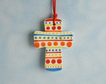 Small Clay Cross, Handmade Ceramic Cross, Confirmation Cross, Christian Ornament, Baptism Cross, Christening Favors, Easter Basket Idea