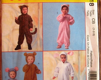 Toddlers Halloween Costumes: Mouse, Bear, Cat, Pig and Lamb Sizes 1 2 3 McCalls Pattern M4618 UNCUT