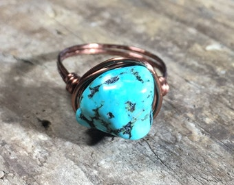 Turquoise Howlite , antique copper Ring - size 7.25 , 7 1/4 - stone wire wrapped / gemstone / blue / rustic bohemian / unisex men women ring