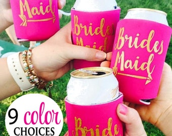 Bride Tribe Can Coolers,  Bridesmaid, Matron of Honor, Maid of Honor, Bachelorette Party Can Cooler, Favors