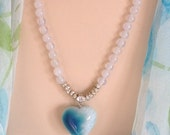 CRAZY SALE:  Ashira White Jade & Beautiful 3D Heart Pendant