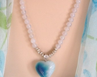 STOCK REDUCTION:  Ashira White Jade & Beautiful 3D Heart Pendant