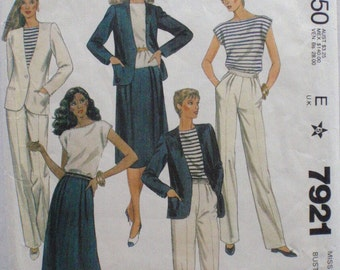 Jones New York Sewing Pattern - Lined Jacket, Pullover Top, Pleated Skirt and Pants - McCall's 7921 - Size 14, Bust 36