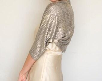Wedding shrug, gold wedding bolero, wedding dress cover up, shrug for bride, gold shrug, gold shawl, bridal wedding sleeves