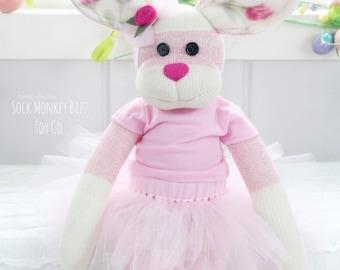 Pink Ballerina Easter Bunny Rabbit Doll, Child's Stuffed Plush Toy, Rose Ballet, Easter Basket Gift, Limited