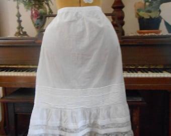 """Vintage 1800's Fine Cotton and Lace trim PETTICOAT tie back waist 24-34"""""""