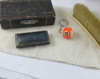 Small Vinyl Vintage Boxes a Pool Ball Key Chain Number 13 and a Clothing Brush with the Initial E