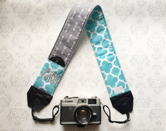 Monogrammed DSLR Camera Strap, Lens Cap Pocket, Nikon, Canon, DSLR Photography, Photographer Gift, Bohemian - Gray Arrows & Aqua Quatrefoil