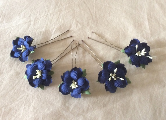 Hairpins x 5 Paper Flowers. Navy Blue. Bridal.