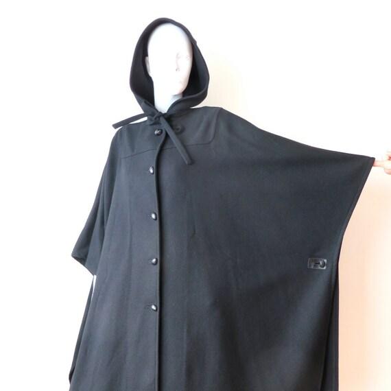 Vintage Black Wool Long Hooded Cape Poncho/Pendleton Cape/Black Long Hooded Cape/Medium