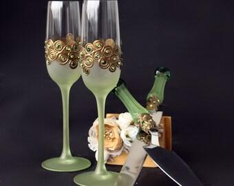 Wedding Glasses Cake Server Set, Green Gold Wedding, Peacock Wedding, Hand Painted Wedding Set