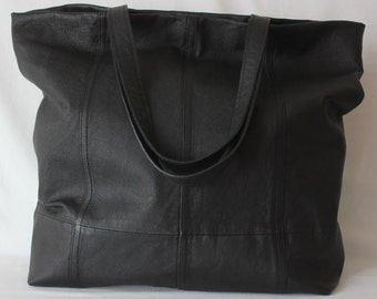 Black extra large leather tote bag/Red Lined  leather tote bag/jumbo black tote bag/black leather tote bag ***