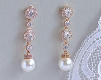 Rose Gold Crystal Earrings, Ivory Pearl Drop Earrings, Pearl Bridal Earrings, Long Rose Gold Earrings,  BRIGITTE RP
