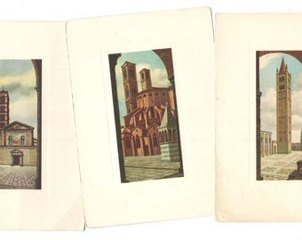 3 Italy CITY Vintage POSTCARDS - Paper ephemera - Roma, Verona, Bologna POST Card