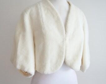 1950s Cream ivory faux fur capelet short jacket / 50s bolero cape - S M
